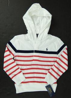 4469e6c2a Polo Ralph Lauren Boys White Red Blue Hoodie Lightweight Cotton Pullover  Size 3T  PoloRalphLauren