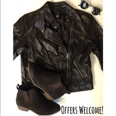 Faux Leather Moto Jacket A vintage-inspired faux leather jacket-deep brown, almost black! Great way to add an edgy vibe to a cute dress! Please feel free to make me an offer or request a bundle! I'm cleaning out my closet so all reasonable offers are considered 😊  🎁 Please no trades or PayPal!🎁 Mossimo Supply Co Jackets & Coats
