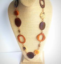 Earthy Celebration! Long Tagua necklace in Earthy Browns by RainforestColors on Etsy
