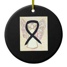 Black Awareness Ribbon Angel Custom Art Ornaments