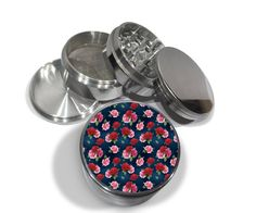 "Rose Garden Floral Pattern Retro 4 Piece Silver Alumium Metal Grinder 2.5"" Flowers Mod Pattern Red Pink Girly Girl by Swagstr on Etsy https://www.etsy.com/listing/240564496/rose-garden-floral-pattern-retro-4-piece"