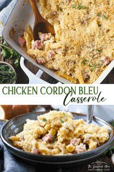 Easy Chicken Cordon Bleu, Chicken Cordon Bleu Casserole, Chicken Casserole, Casserole Recipes, Chicken Ham, Creamy Chicken, Shredded Chicken, Rotisserie Chicken, Best Chicken Recipes