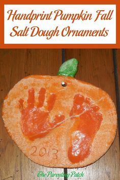 Instructions for making handprint and footprint pumpkin ornaments with salt dough and acrylic paint for autumn, Halloween, or Thanksgiving.