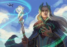 Manwe Sulimo by elbenherzart Tolkien Books, Jrr Tolkien, Lotr Swords, Elf Art, Dark Elf, Fantasy Rpg, Gods And Goddesses, Character Art, Character Portraits