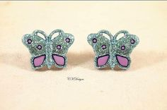 Sparkly Butterfly Earrings  Blue and Purple with by CKDesignsUS