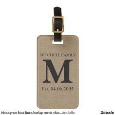 Monogram faux linen burlap rustic chic initial jute luggage tag for bags