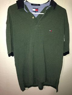 46f8262bae8d Vintage Tommy Hilfiger Striped Men s Short Sleeve Polo Shirt Size Large   fashion  clothing