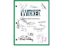 Wicked Broadway Opening Night Script Signed Autographed Idina Menzel, Kristin Chenoweith, Stephen Schwartz