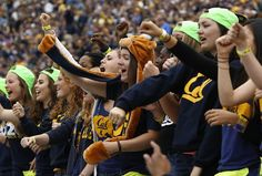 Fans in the new student section cheer on the Golden Bears!