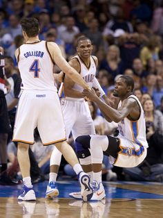 Nick Collison, Russell Westbrook and Kevin Durant Kevin Durant Sneakers, Oklahoma City Thunder Basketball, Thunder Vs, Nike Bags, Nike Trainers, Nike Workout, Best Fan, Sports Pictures, Russell Westbrook
