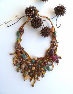 Forest in fall unique free form peyote stitch necklace by Cesart64, $139.00