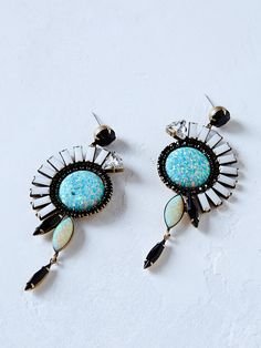Mandela Crystal Cocktail Earrings | Handmade in NYC, these dangling eclectic earrings feature Swarovski Crystals and eye-catching opals in a tribal-inspired bohemian design.