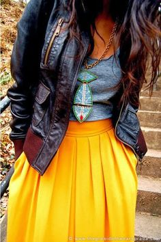 Black Leather Jacket With Yellow Skirt