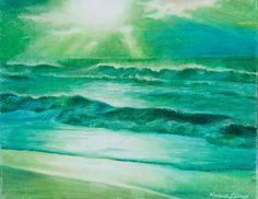 Teal ocean sunset oil pastel painting, framed