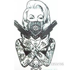 2016 neue Design Cooles tattoo mädchen mit pistolen 19x12 cm Wasserdicht Temporäre Tätowierung Aufkleber