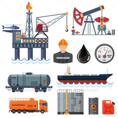Oil industry Flat Icons Set by -TAlex- Oil industry extraction production and transportation oil and petrol Flat Icons Set with oilman, rig and barrels. Isolated vector