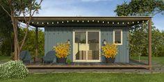 Keen Sportsman 20 model, permanent foundation with porch add-on. Custom Home Designs, Custom Homes, Hybrid Design, My Dream Home, Porch, Garage Doors, Exterior, House Design, Cabin