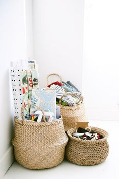 Cluster of belly baskets makes for a stylish storage solution in any kids room or nursery.