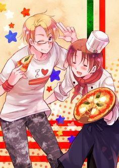 Hetalia (ヘタリア) - America (アメリカ) & North Italy (イタリア) ((Do you notice that Italy's other hand is behind Americas butt like he's gonna slap it))
