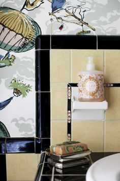 1000 images about vintage tile bathrooms on pinterest for Yellow and black bathroom ideas