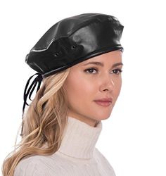 99d2e07c30f82 Italian lamb leather Beret with side air eyelets and draw string tie which  adjusts head size for the perfect fit. Made In USA of imported materials.