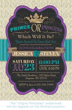 Prince or Princess Gender Reveal Party by UtopiaPrintables on Etsy