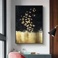 Nordic Golden Butterfly Canvas Painting – King Kong Apa-Your Trend Buddy Poster Color Painting, Mural Painting, Large Painting, Diy Painting, Art Paintings, Butterfly Canvas, Butterfly Wall Art, Butterfly Painting, Diy Canvas Art