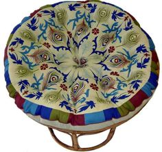 Cotton Craft Papasan Peacock Sage - Overstuffed Chair Cushion, Sink into our Thick Comfortable and Oversized Papasan, Pure Cotton duck fabric, Fits Standard 45 inch round Chair Papasan Cushion, Papasan Chair, Cushions Ikea, Chair Cushions, Home Decor Furniture, Furniture Design, Cute Desk Chair, Chair Cushion Covers, Small Swivel Chair