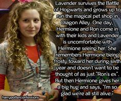 harry potter confessions. — Lavender survives the Battle of Hogwarts and grows...