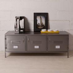 Buffet bas et large en métal gris 3 portes casiers style indus decoclico Factory