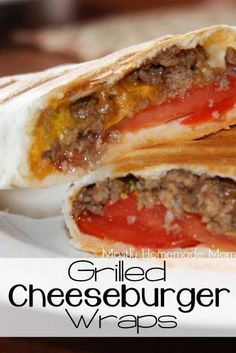 Mostly Homemade Mom: Grilled Cheeseburger Wraps fast dinners fast dinner recipes Cheeseburger Wraps, Cheeseburger Quesadilla, Grilling Recipes, Beef Recipes, Cooking Recipes, Healthy Recipes, Griddle Recipes, Recipies, Panini Recipes