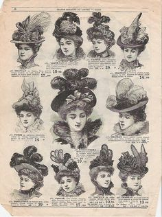 Advertisement for various hats, French, c. 1890s.