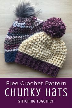 Make a Cozy Hat Here is the chunky yarn crochet hat pattern you've been looking for! Made bottom up with easy yet unique stitches you'll enjoy making this hat as much as wearing it. Add a fun pom pom for the perfect finishing touch. Chunky Crochet Hat, Crochet Beanie Pattern, Chunky Yarn, Crochet Yarn, Free Crochet, Double Crochet, Booties Crochet, Knitted Hats Kids, Knitting Hats