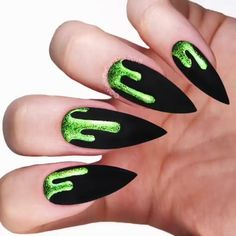 50 Stunning Trendy Nail Designs to Inspire Your Next Manicure ✨ 💘 Lime green holo slime over matte black. By: Nails, Acrylic Nails, Gel Nails, Halloween Nails, Nail Design. Nail Art Designs, Black Nail Designs, Nails Design, Nail Art Halloween, Halloween Nail Designs, Creepy Halloween, Halloween Makeup, Stiletto Nails, Gel Nails
