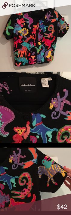 Michael Simon embroidered cardigan, Large- mint! This heavily embellished Large cardigan has darling embroidered animals all over- button up the front, ramie/ cotton blend.  Famous Michael Simon quality. michael simon Sweaters Cardigans