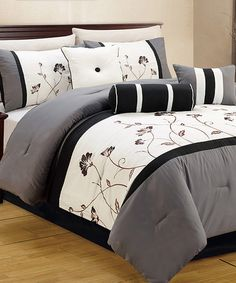 Another great find on #zulily! Gray & White Ayora Seven-Piece Comforter Set #zulilyfinds
