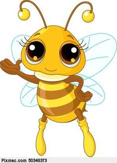 Cute Bee Showing. Illustration of a Friendly Cute Bee Showing And Flying ,