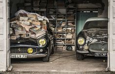 The Ferrari (left), once sat in by Jane Fonda, was found under newspapers in an outbuilding on the French farm, alongside a Maserati A6G 200 Berlinetta Grand Sport Frua - one of only three in the world...