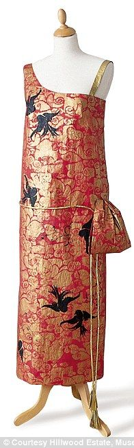20th century girls: 1924 Red Fern of London dress (left) and 1924 Lanvin Dress in spirit of Chinese prints and lacquers with diamanté and bead embroidery effect in paint (middle) and orange dress after Mariano Fortuny