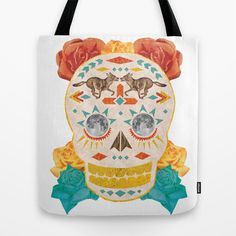 Dia De Los Muertos Tribal Wolf Skull for Day of the Dead Tote Bag