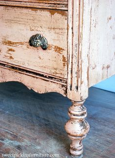 """Sweet Pickins Milk Paint - Shellac trick w/milk paint--stained piece with shiny coat and 2 coats of shellac gives the """"perfect chippy"""" look here"""