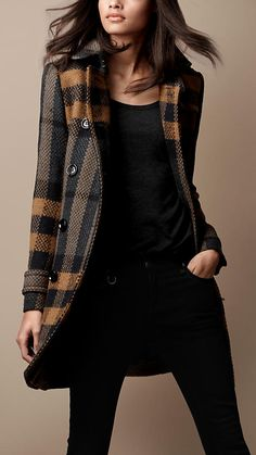 Burberry Brit Mid-Length Woven Check Wool Trench Coat