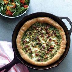 Sausage and Kale Pesto Pizza with Blistered Tomato-Arugula Salad Recipe