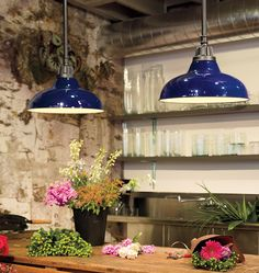 A pair of Dakota fixtures with Carbon finish and Cobalt Blue dome shades. Twice the light!