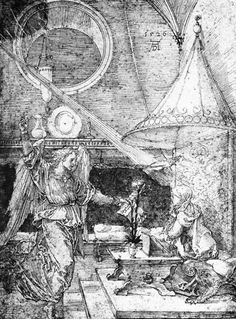 Annunciation, Drawing, Pen by Albrecht Durer (1471-1528, Italy)