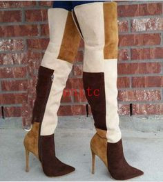 2a0808a5f01 Women Multi-Color Suede High Stiletto Heel Over Knee Thigh Boots Nightclub  Shoes