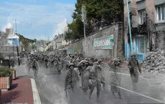 Ghosts of WWII.  Vintage images intertwined with modern day