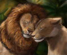 """Simba and Nala by Noctualis.deviantart.com on @DeviantArt - Realistic version of the scene from """"The Lion King"""""""