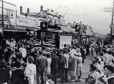 The last tram travels from the New Brighton Post Office to the pier  oct 1952
