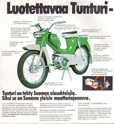 Tunturi Automat 75, mainos Moped Scooter, Vespa, Vintage Cars, Retro Vintage, Motor Scooters, Retro Ads, Ol Days, Old Pictures, Finland